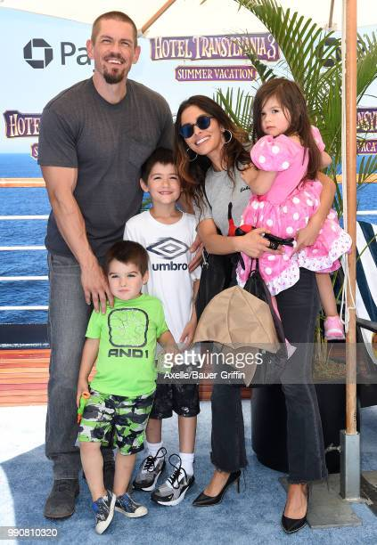 Actors Steve Howey and Sarah Shahi daughter Violet Moon Howey and sons William Wolf Howey and Knox Blue Howey attend Columbia Pictures and Sony...