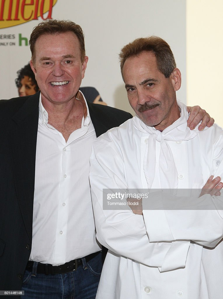 Actors Steve Hytner (L) and Larry Thomas attend Seinfeld: The Apartment Fan Experience on December 15, 2015 in Los Angeles, California.