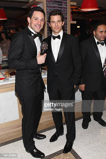 Actors Steve Kazee winner of Best Performance by a Leading Actor in a Musical for 'Once' and James Marsden attend 66th Annual Tony Awards after party...