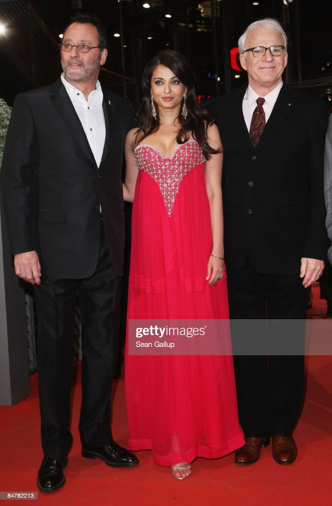 Actors Steve Martin Aishwarya Rai Bachchan and Jean Reno attend the premiere for `Pink Panther 2` as part of the 59th Berlin Film Festival at the...