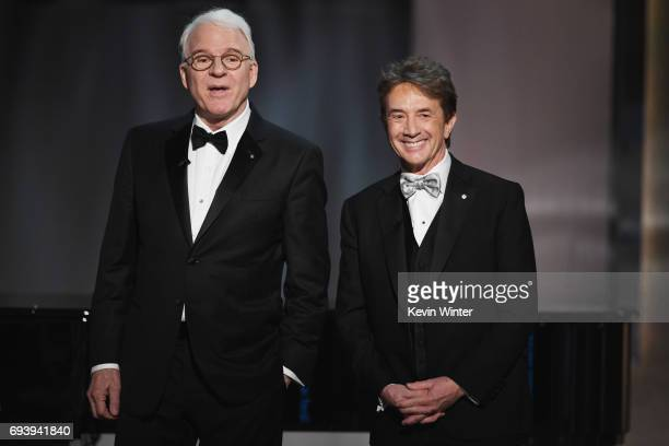 Actors Steve Martin and Martin Short speak onstage during American Film Institute's 45th Life Achievement Award Gala Tribute to Diane Keaton at Dolby...