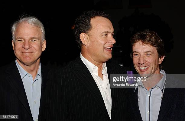 Actors Steve Martin Tom Hanks and Martin Short arrive at a special screening of The Nutty Professor hosted by Jerry Lewis on October 12 2004 at the...