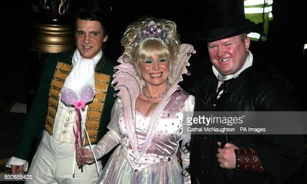 Actors Steve McFadden Barbara Windsor and Windsor's husband Scott Mitchell arrive at the pantomimethemed reception for the civil partnership between...