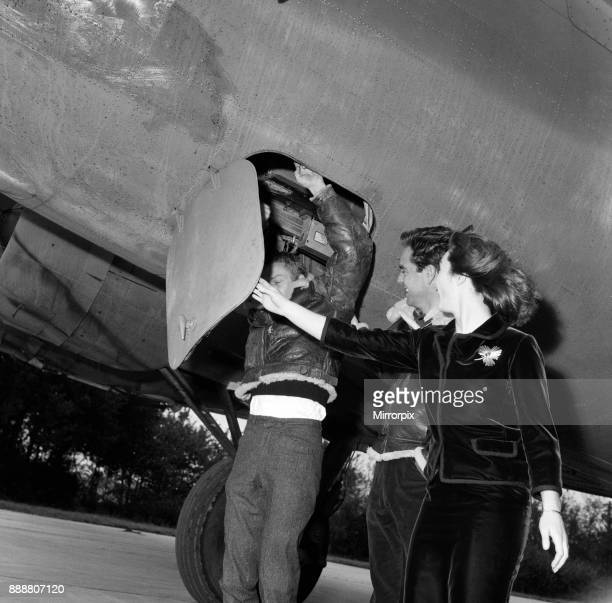 Actors Steve McQueen Robert Wagner and Shirley Anne Field filming the War Lover in front of a Boeing B17 Flying Fortress at RAF Bovingdon aerodrome...