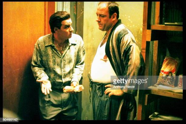 Actors Steve Van Zandt James Gandolfini in scene from HBO TV dramatic series The Sopranos