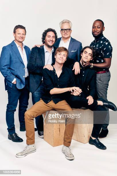 Actors Steve Zahn Oliver Cooper John Karna Bradley Whitford Dakota Shapiro and Lamorne Morris of National Geographic's 'Valley of the Boom' pose for...