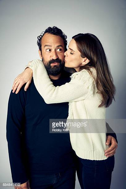 Actors Steve Zissis and Amanda Peet from the HBO show 'Togetherness' for The Wrap on May 2 2016 in Los Angeles California