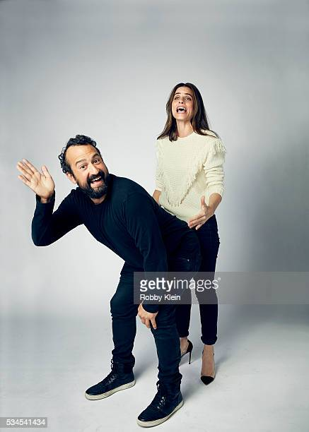 """Actors Steve Zissis and Amanda Peet from the HBO show """"Togetherness"""" for The Wrap on May 2, 2016 in Los Angeles, California."""