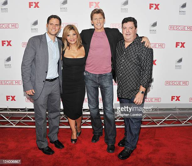 Actors Steven Pasquale Callie Thorne Denis Leary and John Scurti attend the Rescue Me Season 7 series finale episode screening at the Ziegfeld...