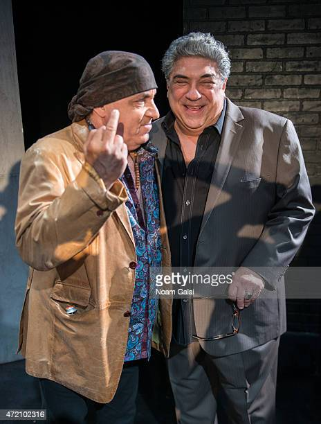 Actors Steven Van Zandt and Vincent Pastore pose onstage at the opening night of 'A Queen For A Day' at Theatre At St Clements on May 3 2015 in New...