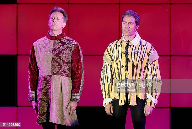 Actors Steven Weber and Eric McCormack perform onstage during the 24th and final 'A Night at Sardi's' to benefit the Alzheimer's Association at The...