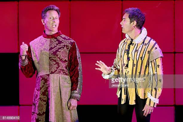 Actors Steven Weber and Eric McCormack perform onstage during the 24th and final A Night at Sardi's to benefit the Alzheimer's Association at The...