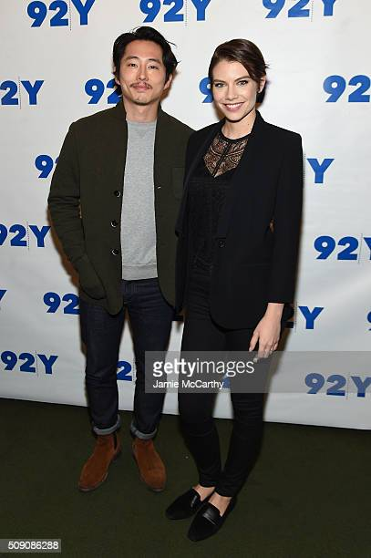 Actors Steven Yeun and Lauren Cohan attend The Walking Dead Screening and Conversation at the 92nd St Y on February 8 2016 in New York City