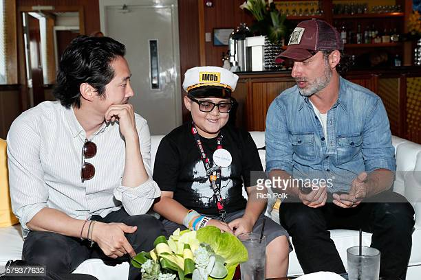 Actors Steven Yeun Make A Wish Kid Ian and Andrew Lincoln of The Walking Dead attend the IMDb Yacht at San Diego ComicCon 2016 Day Three at The IMDb...