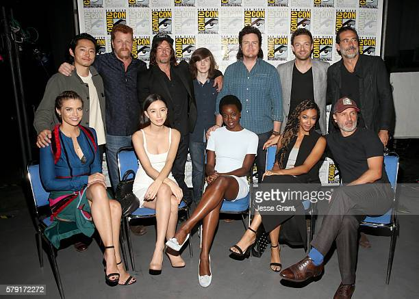 Actors Steven Yeun, Michael Cudlitz, Norman Reedus, Chandler Riggs, Josh McDermitt, Ross Marquand, Jeffrey Dean Morgan Lauren Cohan, Christian...