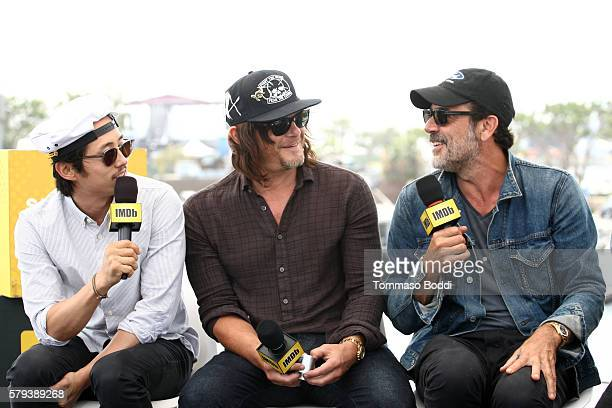 Actors Steven Yeun Norman Reedus and Jeffrey Dean Morgan of The Walking Dead attend the IMDb Yacht at San Diego ComicCon 2016 Day Three at The IMDb...