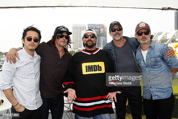 Actors Steven Yeun Norman Reedus host Kevin Smith Jeffrey Dean Morgan and Andrew Lincoln of The Walking Dead attend the IMDb Yacht at San Diego...