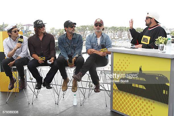 Actors Steven Yeun Norman Reedus Jeffrey Dean Morgan and Andrew Lincoln of The Walking Dead and host Kevin Smith attend the IMDb Yacht at San Diego...