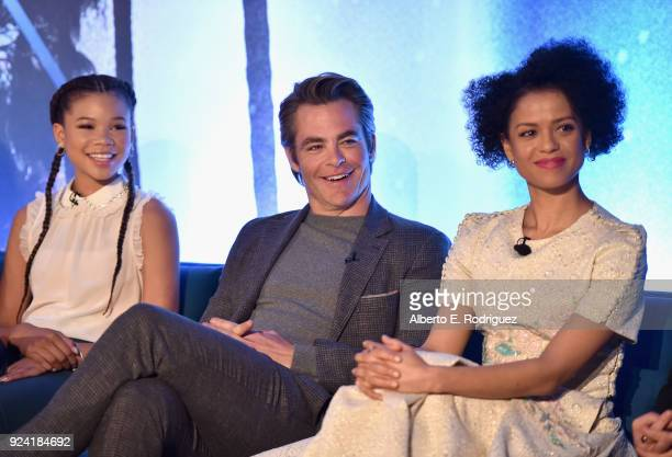 Actors Storm Reid Chris Pine and Gugu MbathaRaw participate in the press conference for Disney's 'A Wrinkle in Time' in Hollywood CA on March 25 2018