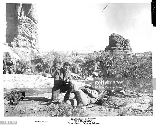 Actors Stuart Whitman and Anthony Franciosa on set of the 20th Century Fox movie Rio Conchos in 1964