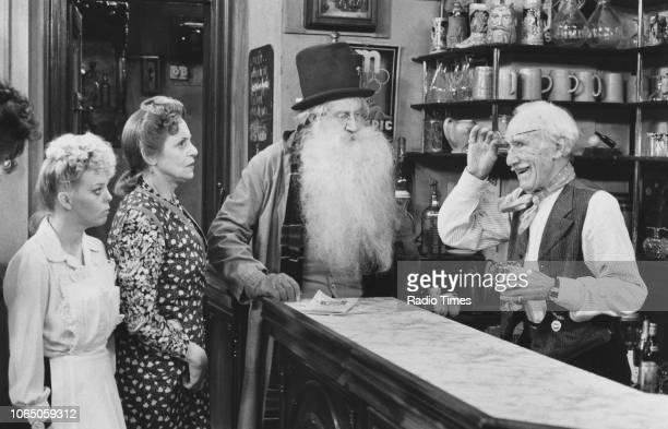 Actors Sue Hodge, Carmen Silvera, Gordon Kaye and Jack Haig in a scene from episode 'No Hiding Place' of the television sitcom ''Allo! 'Allo!',...