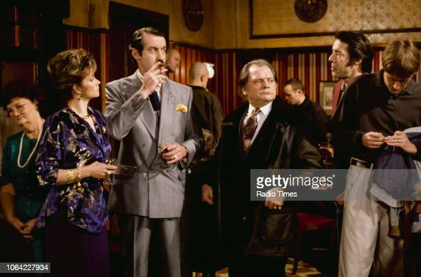 Actors Sue Holderness John Challis David Jason Roger LloydPack and Nicholas Lyndhurst in a pub scene from episode 'He Ain't Heavy He's My Uncle' of...