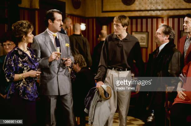 Actors Sue Holderness John Challis Nicholas Lyndhurst David Jason and Roger LloydPack in a pub scene from episode 'He Ain't Heavy He's My Uncle' of...