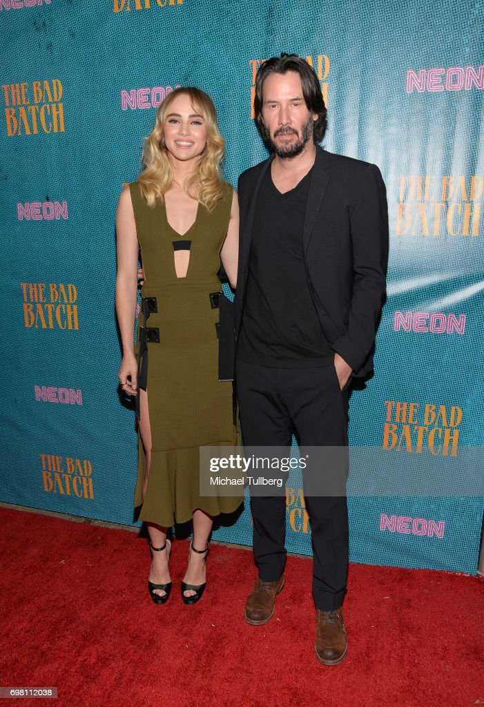 Actors Suki Waterhouse and Keanu Reeves attend the premiere of Neon's 'The Bad Batch' at Resident on June 19, 2017 in Los Angeles, California.