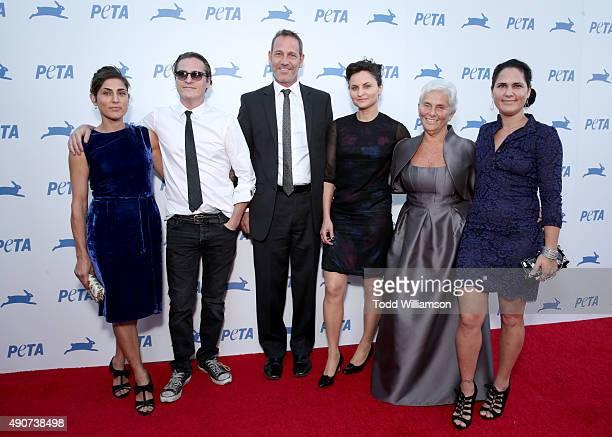 Actors Summer Phoenix Joaquin Phoenix Jeffrey Weisberg actress Rain Phoenix Arlyn Phoenix and actress Liberty Phoenix attend PETA's 35th Anniversary...