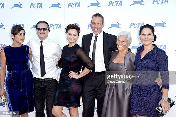 Actors Summer Phoenix Joaquin Phoenix Jeffrey Weisberg actress Rain Phoenix Arlyn Phoenix and actress Liberty Phoenix attend PETA's 35th Anniversary...