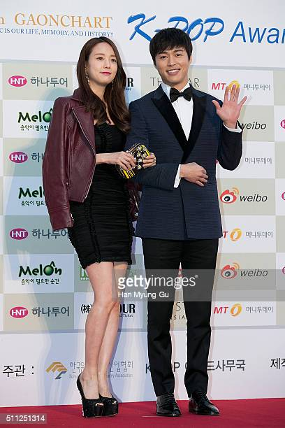 Actors Sun Hye-Joo and Lee Hyung-Kyu attend the 5th Gaon Chart K-Pop Awards on February 17, 2016 in Seoul, South Korea.