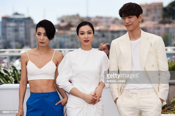 Actors Sung Joon Kim Okvin and Kim Seo Hyung attend The Villainess photocall during the 70th annual Cannes Film Festival at Palais des Festivals on...