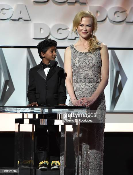 Actors Sunny Pawar and Nicole Kidman onstage during the 69th Annual Directors Guild of America Awards at The Beverly Hilton Hotel on February 4 2017...