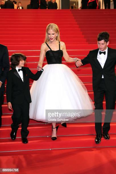 Actors Sunny Suljic Nicole Kidman and Barry Keoghan depart after the The Killing Of A Sacred Deer screening during the 70th annual Cannes Film...