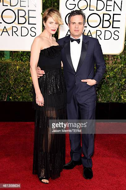Actors Sunrise Coigney and Mark Ruffalo attend the 72nd Annual Golden Globe Awards at The Beverly Hilton Hotel on January 11 2015 in Beverly Hills...