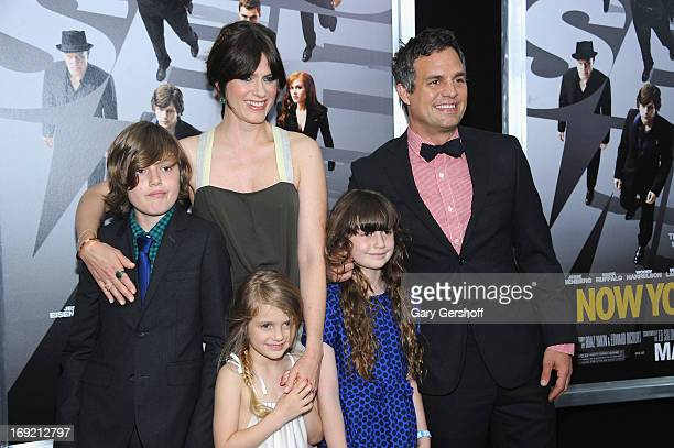 Actors Sunrise Coigney and Mark Ruffalo with children Keen Ruffalo Odette Ruffalo and Bella Noche Ruffalo attend the 'Now You See Me' premiere at AMC...