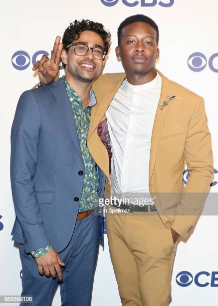 Actors Suraj Sharma and Brandon Micheal Hall attend the 2018 CBS Upfront at The Plaza Hotel on May 16 2018 in New York City