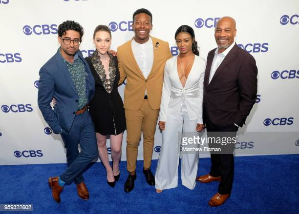Actors Suraj Sharma Violett Beane Brandon Micheal Hall Javicia Leslie and Joe Morton attend the 2018 CBS Upfront at The Plaza Hotel on May 16 2018 in...