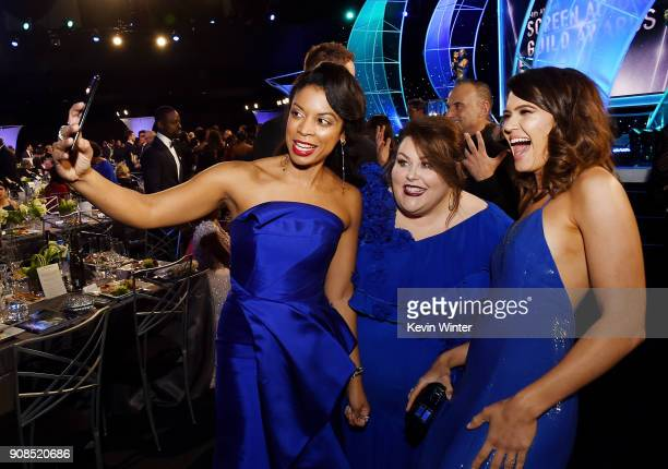 Actors Susan Kelechi Watson Chrissy Metz and Mandy Moore attend the 24th Annual Screen Actors Guild Awards at The Shrine Auditorium on January 21...