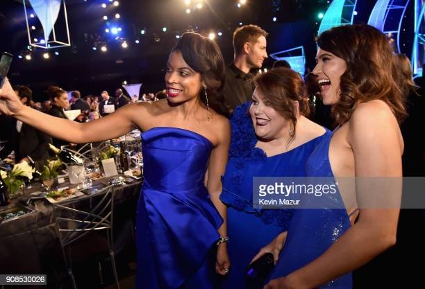 Actors Susan Kelechi Watson Chrissy Metz and Mandy Moore take a selfie during the 24th Annual Screen Actors Guild Awards at The Shrine Auditorium on...