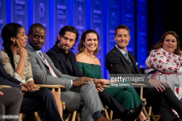 Actors Susan Kelechi Watson Sterling K Brown Milo Ventimiglia Mandy Moore Justin Hartely and Chrissy Metz attend The Paley Center For Media's 34th...
