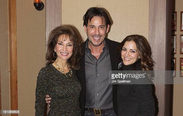 Actors Susan Lucci Ricky Paull Goldin and Rebecca Budig attend the Spontaneous Construction premiere at Guys American Kitchen Bar on February 10 2013...