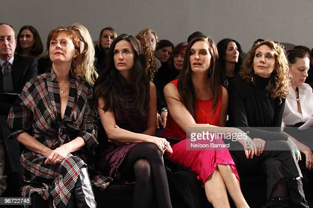 Actors Susan Saradon Demi Moore Brooke Shields and Marisa Berenson attend the Donna Karan Collection Fall 2010 Fashion Show during MercedesBenz...
