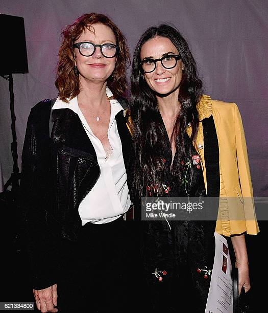 Actors Susan Sarandon and Demi Moore attend the opening of the Anton Yelchin photography exhibit at Other Gallery on November 5 2016 in Los Angeles...