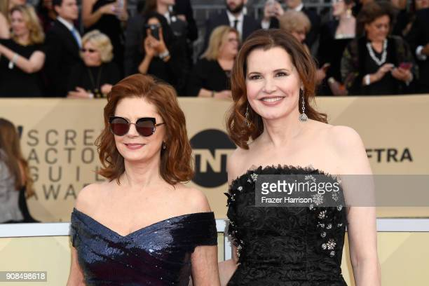 Actors Susan Sarandon and Geena Davis attend the 24th Annual Screen ActorsGuild Awards at The Shrine Auditorium on January 21 2018 in Los Angeles...
