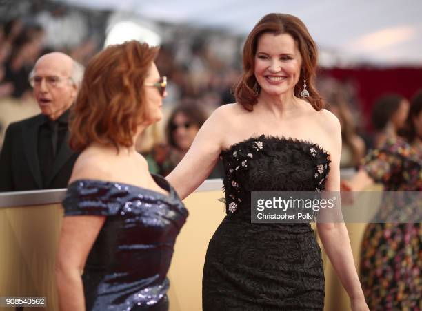 Actors Susan Sarandon and Geena Davis attends the 24th Annual Screen Actors Guild Awards at The Shrine Auditorium on January 21 2018 in Los Angeles...