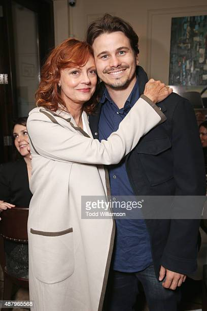 Actors Susan Sarandon and Jason Ritter attend the SPC Toronto Party during the 2015 Toronto International Film Festival at Creme Brasserie on...
