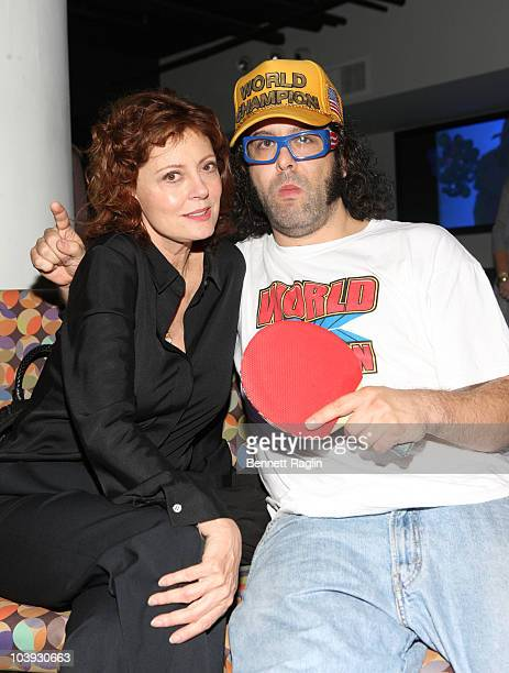 Actors Susan Sarandon and Judah Friedlander attend Ping Pong with the Models to benefit Haiti at SPiN New York on September 8, 2010 in New York City.