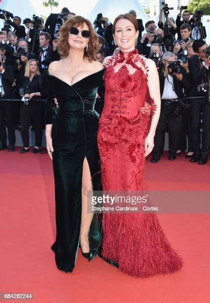 Actors Susan Sarandon and Julianne Moore attend the 'Ismael's Ghosts ' screening and Opening Gala during the 70th annual Cannes Film Festival at...