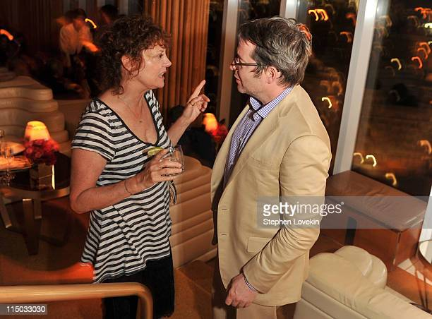 Actors Susan Sarandon and Matthew Broderick attend the after party for the Gucci Cinema Society the Film Foundation screening of La Dolce Vita at the...